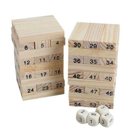 Mainan Dadu Kayu permainan uno stako kayu 54 balok dengan 4 dadu brown