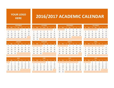 2016 And 2017 Academic Calendar 2016 2017 School Calendars