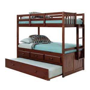 bunk beds with trundle riverton bunk bed with trundle chocolate