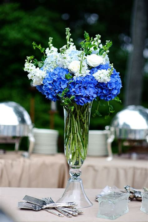 blue and white reception wedding flowers wedding decor