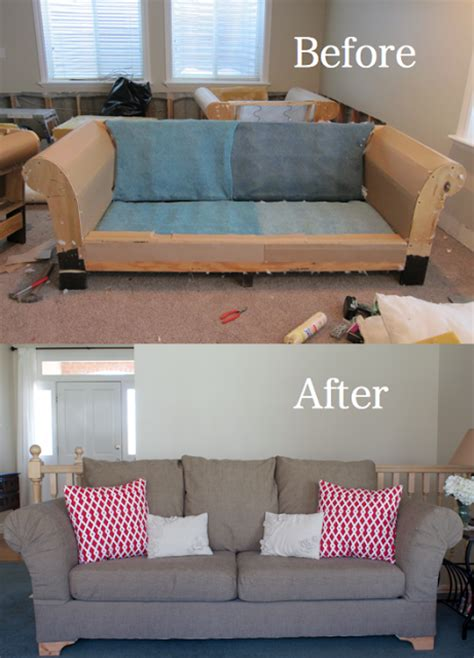 reupholstering a couch tutorial i promise you this is the same exact couch this proves