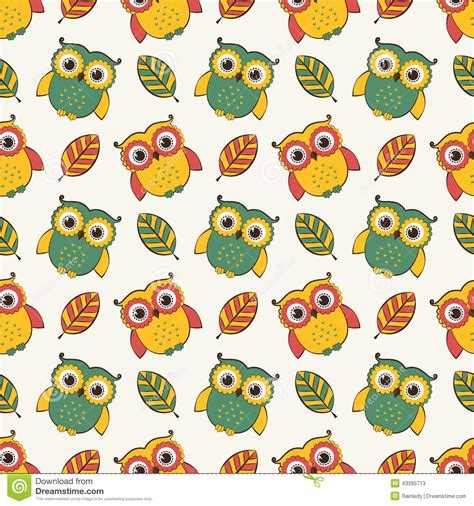 Owls Decor by Background With Owls And Leaves Vector Seamless Pattern