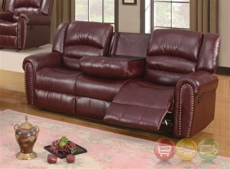 burgundy leather sofa nailhead trim 686 burgundy leather reclining sofa with console and