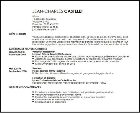 Preschool Teacher Resume Samples by Cv Vendeurmagasinier Pieces Automobiles Exemple Cv