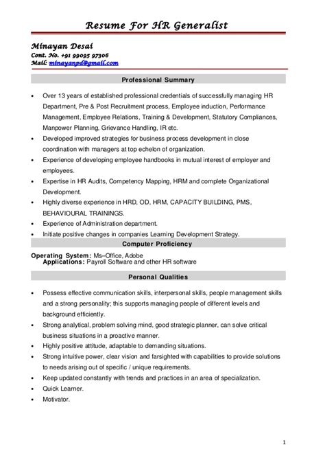 Resume Sle For Hr Professional Hr Generalist Resumes Human Resource Generalist Resume Student Resume Template Hr Generalist
