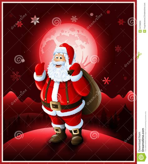 Rectangle House Plans Santa Claus Background Christmas Greeting Card Stock