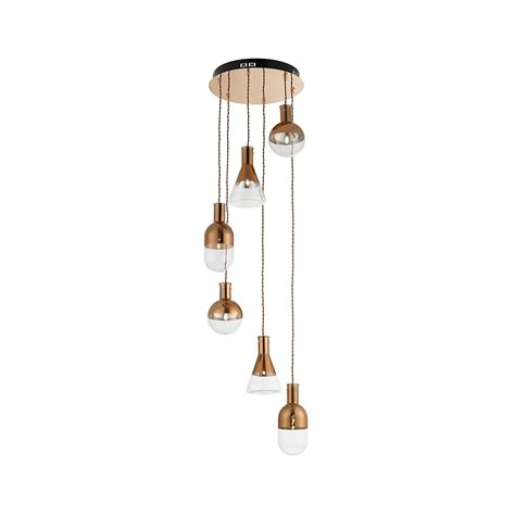 Ceiling Pendant Lights Endon Lighting Giamatti 6co 6 Light Retro Copper Spiral Ceiling Pendant Light Endon Lighting