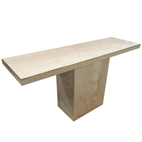 Travertine Sofa Table Travertine And Brass Console Table By Cain Modern For Sale