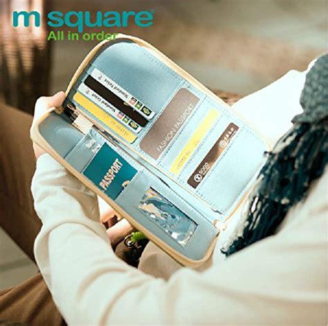 m square travel passport wallet holder safety documents