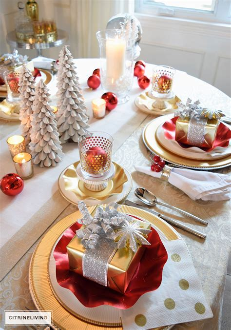 Dining Room Table Runner by Red White And Gold Holiday Tablescape With A Twist