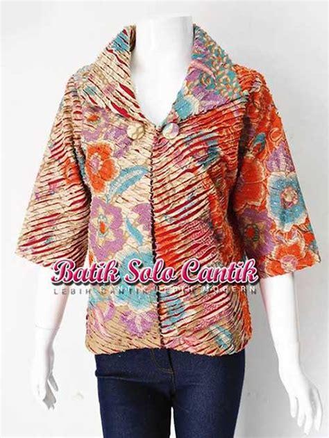 Blouse Bolero Zipper Batik Sogan cardigan batik terbaru baju kerja batik