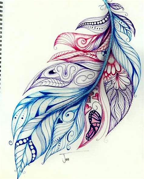 watercolor zentangle tattoo more feathers complete this one is a