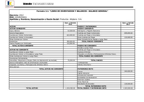 formato 31 libro de inventarios y balances balance libro de inventarios
