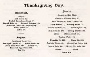 traditional thanksgiving dinner menu list