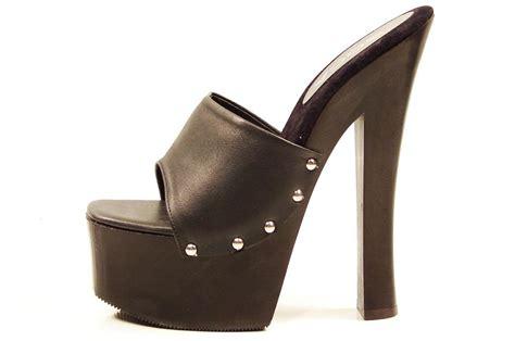 soca shoes black high heel wood platform slip on