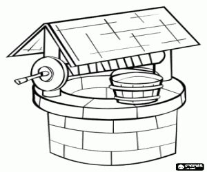 coloring page water well buildings and other constructions coloring pages printable