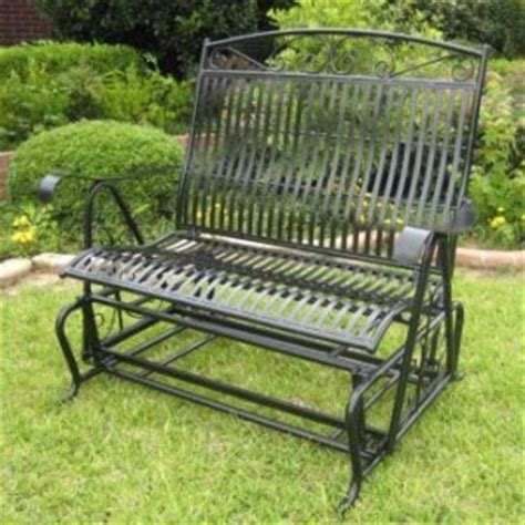 wrought iron patio glider bench wrought iron glider my big outdoor living room pinterest