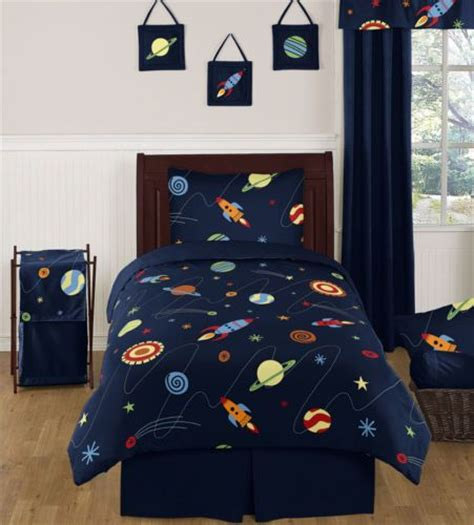rocket ship bedding discount blue galaxy rocket ship twin size boy kids saturn
