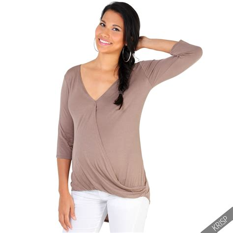 V Neck 3 4 Sleeve T Shirt maternity womens plunge v neck 3 4 sleeve wrap top stretch