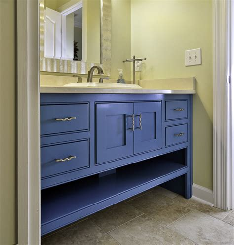blue bathroom cabinet real estate photography