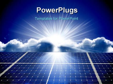 a solar energy panels with blue sky powerpoint template
