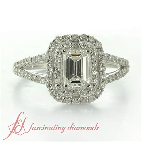 1.70 Ct Emerald Cut Double Halo Engagement Ring Diamond