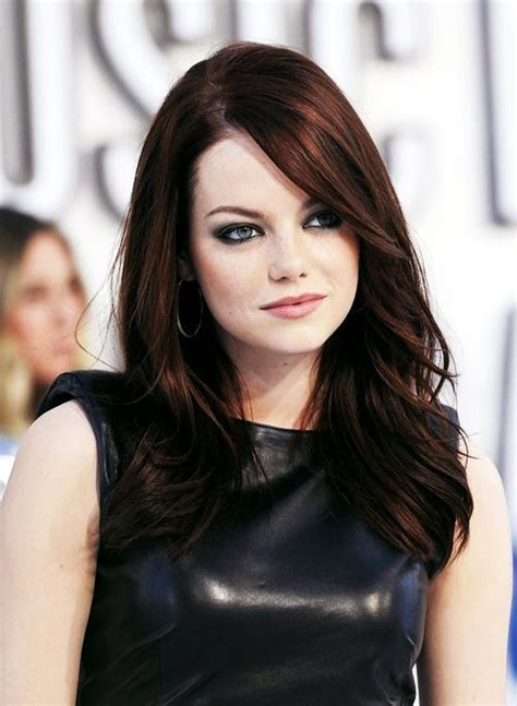 emma stone dark auburn hair colors 187 new medium hairstyles