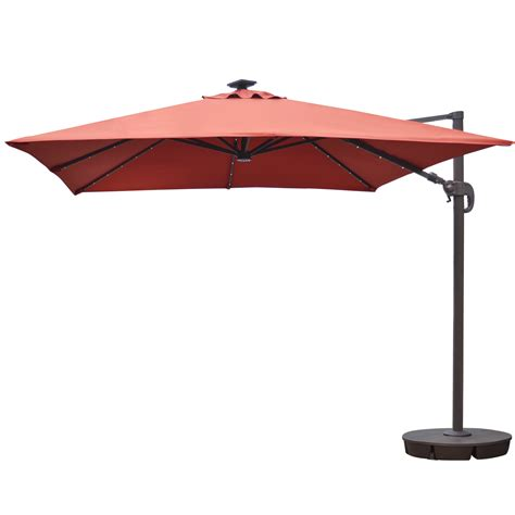 Cantilever Patio Umbrella Island Umbrella Santorini Ii 10 Ft Square Cantilever Solar Patio Umbrella In Terra Cotta