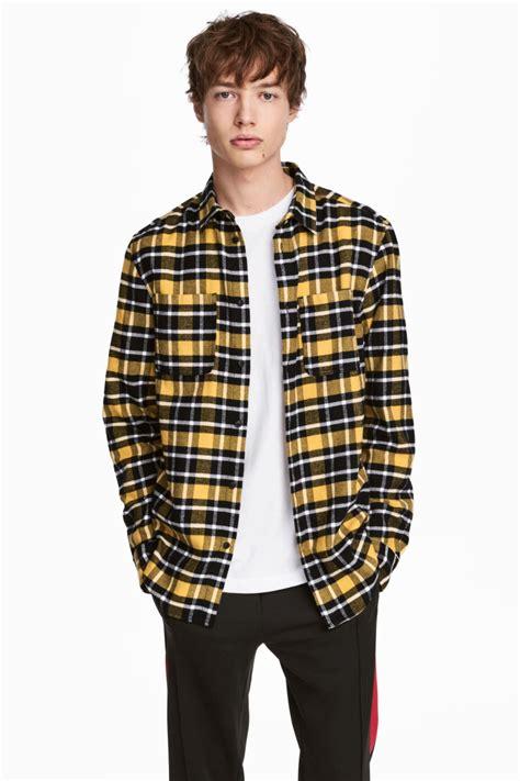 Flanel Black Big White flannel shirt yellow black plaid h m us