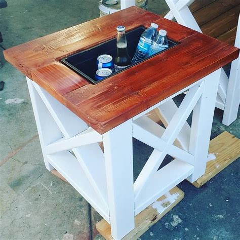 outdoor end table cooler small table with built in cooler rustic x end table