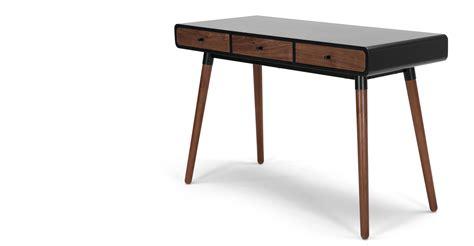 black walnut desk top edelweiss desk walnut and black made com