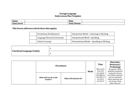Foreign Language Lesson Plan Template by Foreign Language Lesson Plan Format Search