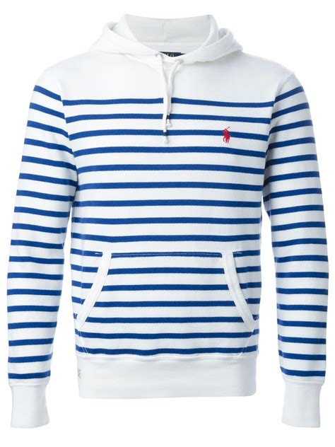 Striped Hoodie polo ralph striped hoodie in white for lyst