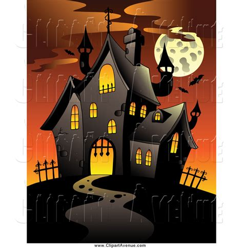 haunted house clipart avenue clipart of a full moon and haunted house at sunset by visekart 2114