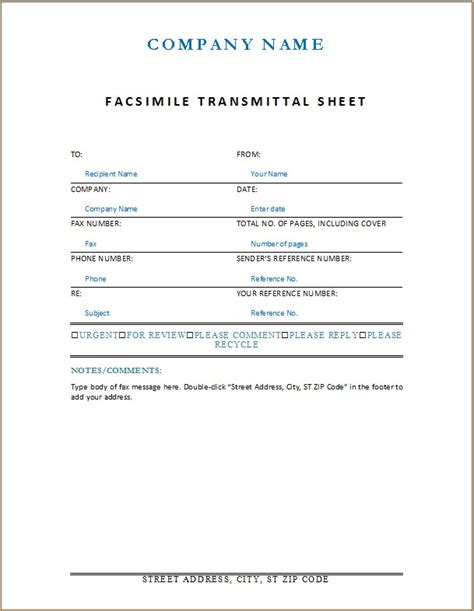 fax cover sheet word excel templates