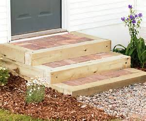 Diy Patio Stairs by Steps With Timbers And Brick Sand Set Amp Mortared Patios