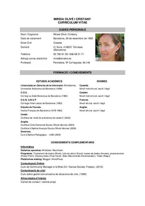 Model Curriculum Vitae Catala Word Serveis Socials Educaci 243 I Cultura Projecte De Recerca 4t D Eso Curs 2013 2014
