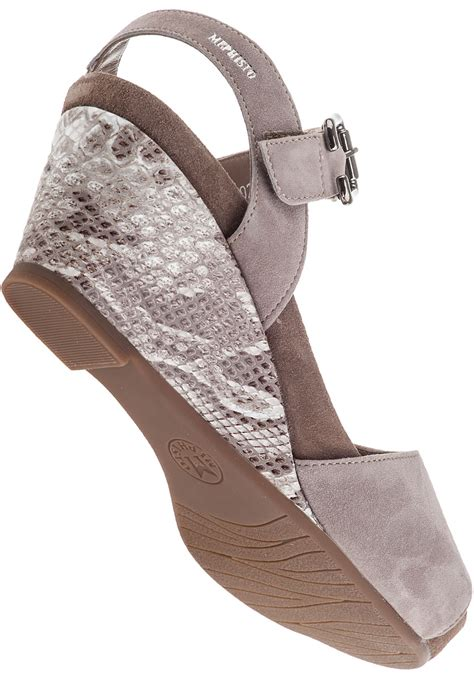 Wedges Aira mephisto wedge sandal light sand suede in gray lyst