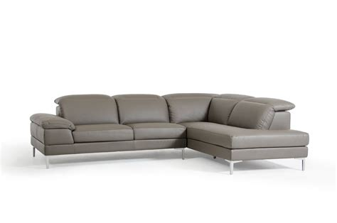 Carnation Modern Grey Eco Leather Sectional Sofa
