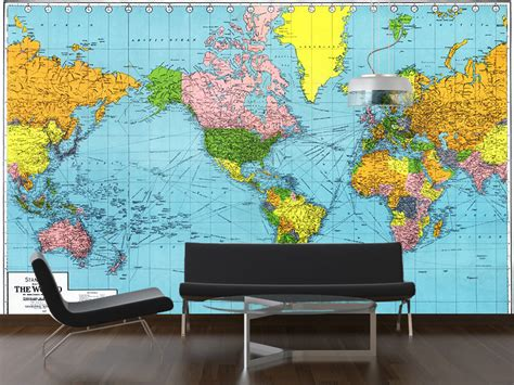 Classic World Map Wallpaper Wall - vintage 1942 map of the world wall mural