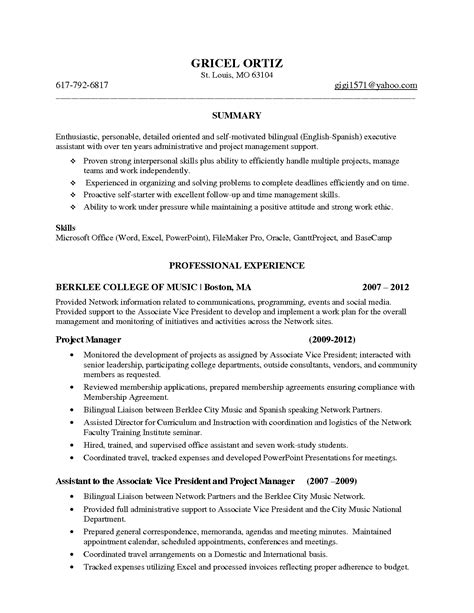 sle resume of sle resume of admin executive 28 images bank assistant