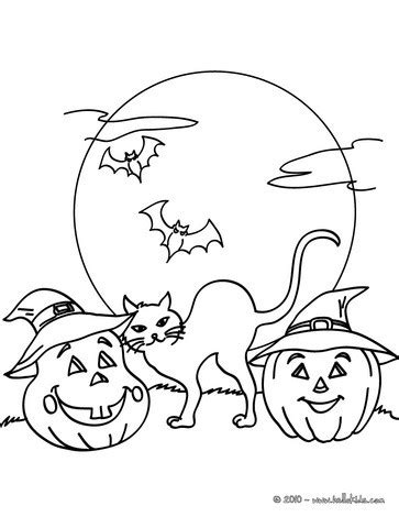 bats and pumpkins coloring pages pumpkin black cat and bats coloring pages hellokids com