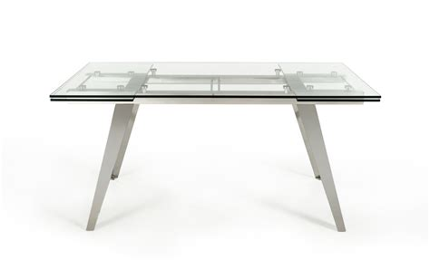 Glass Dining Table Modern Modrest Barium Modern Extendable Glass Dining Table