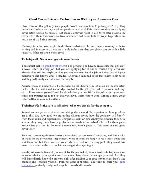 Cover Letter Tips And Techniques Cover Letter Techniques To Writing An Awesome One