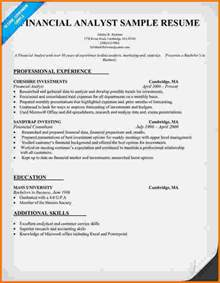 financial analyst resume sle 8 financial analyst resume sles financial statement form