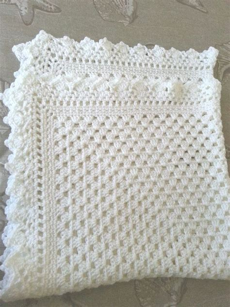 white pattern blanket white crochet christening baptism baby blanket with fancy