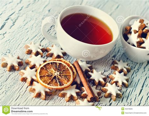 how many copies of a cup of christmas tea sold white cookies and cup of tea copy space stock photo image 45419926