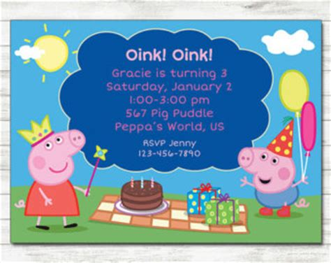 peppa pig invitations template etsy your place to buy and sell all things handmade