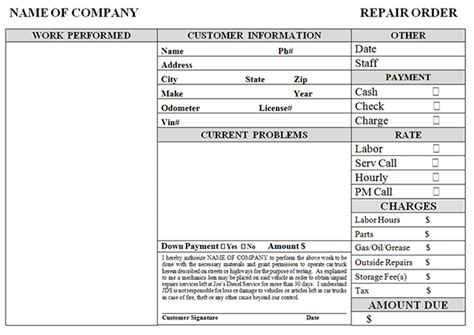 Simple Auto Repair Work Order Auto Repair Order Template
