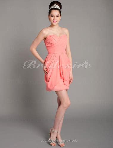 a linie u ausschnitt kurz mini chiffon brautjungfernkleid mit gefaltet p545 bridesire etui linie kurz mini chiffon herz ausschnitt
